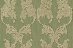 Barokk-klasszikus,különleges motívumos,természeti mintás,valódi textil,virágmintás,bézs-drapp,zöld,gyengén mosható,vlies tapéta