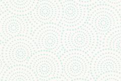 Absztrakt,geometriai mintás,különleges motívumos,pöttyös,fehér,türkiz,lemosható,vlies tapéta