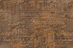 Feliratos-számos,fémhatású - indusztriális,konyha-fürdőszobai,barna,bronz,súrolható,vlies tapéta