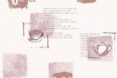 Feliratos-számos,konyha-fürdőszobai,barna,fehér,pink-rózsaszín,lemosható,vlies tapéta