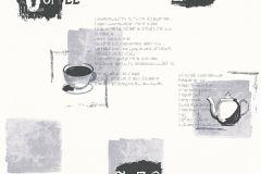 Feliratos-számos,konyha-fürdőszobai,fehér,fekete,szürke,lemosható,vlies tapéta