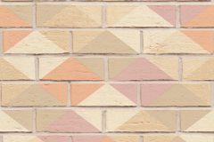 Geometriai mintás,kőhatású-kőmintás,barna,bézs-drapp,narancs-terrakotta,pink-rózsaszín,vajszín,súrolható,vlies tapéta
