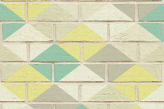 Geometriai mintás,kőhatású-kőmintás,fehér,sárga,szürke,türkiz,súrolható,vlies tapéta
