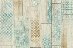 Fa hatású-fa mintás,geometriai mintás,barna,bézs-drapp,türkiz,zöld,súrolható,vlies tapéta