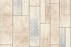 Fa hatású-fa mintás,geometriai mintás,barna,bézs-drapp,kék,súrolható,vlies tapéta