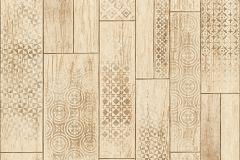 Fa hatású-fa mintás,geometriai mintás,barna,súrolható,vlies tapéta