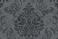 Barokk-klasszikus,geometriai mintás,különleges motívumos,fekete,szürke,lemosható,vlies tapéta