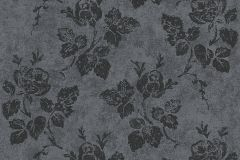 Különleges motívumos,természeti mintás,virágmintás,fekete,szürke,lemosható,vlies tapéta