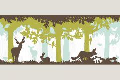 Gyerek,különleges motívumos,rajzolt,retro,tájkép,természeti mintás,barna,fehér,türkiz,zöld,vlies bordűr