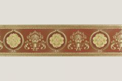 Barokk-klasszikus,különleges felületű,különleges motívumos,metál-fényes,rajzolt,arany,barna,piros-bordó,vlies bordűr