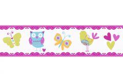 Gyerek,különleges motívumos,rajzolt,természeti mintás,narancs-terrakotta,pink-rózsaszín,zöld,kék,anyagában öntapadós bordűr
