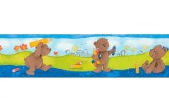 Absztrakt,gyerek,különleges motívumos,rajzolt,barna,kék,narancs-terrakotta,sárga,zöld,anyagában öntapadós bordűr