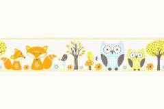 Absztrakt,gyerek,különleges motívumos,rajzolt,retro,természeti mintás,virágmintás,kék,narancs-terrakotta,sárga,vlies bordűr