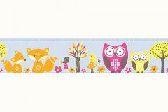 Gyerek,különleges motívumos,rajzolt,természeti mintás,virágmintás,kék,narancs-terrakotta,pink-rózsaszín,sárga,vlies bordűr