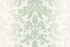 Barokk-klasszikus,pöttyös,fehér,szürke,zöld,lemosható,vlies tapéta