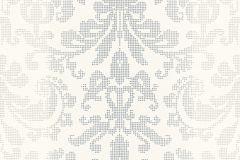 Barokk-klasszikus,pöttyös,fehér,szürke,lemosható,vlies tapéta