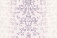 Barokk-klasszikus,pöttyös,fehér,lila,lemosható,vlies tapéta