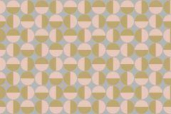 Absztrakt,geometriai mintás,pöttyös,retro,arany,pink-rózsaszín,szürke,lemosható,vlies tapéta