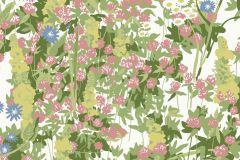 Virágmintás,retro,természeti mintás,gyerek,fehér,kék,lila,pink-rózsaszín,zöld,gyengén mosható,vlies  tapéta