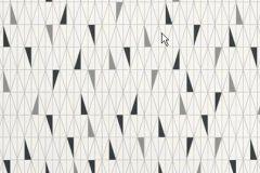 Retro,geometriai mintás,fehér,szürke,fekete,gyengén mosható,vlies tapéta