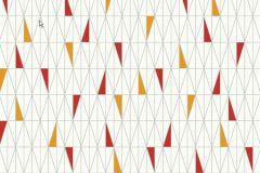 Retro,geometriai mintás,fehér,szürke,piros-bordó,narancs-terrakotta,sárga,gyengén mosható,vlies  tapéta