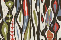 Absztrakt,retro,narancs-terrakotta,zöld,fehér,fekete,piros-bordó,gyengén mosható,vlies  tapéta