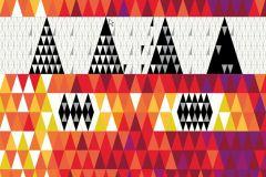 Kockás,retro,geometriai mintás,fehér,fekete,lila,piros-bordó,narancs-terrakotta,sárga,gyengén mosható,vlies panel
