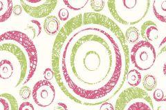 Geometriai mintás,különleges motívumos,pöttyös,fehér,pink-rózsaszín,zöld,lemosható,vlies tapéta