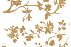 Természeti mintás,virágmintás,arany,barna,anyagában öntapadós falmatrica