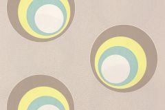 Geometriai mintás,pöttyös,retro,fehér,kék,sárga,szürke,lemosható,vlies tapéta