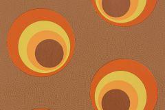 Geometriai mintás,pöttyös,retro,barna,narancs-terrakotta,sárga,lemosható,vlies tapéta