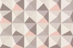 Absztrakt,geometriai mintás,kockás,különleges motívumos,pöttyös,retro,fehér,pink-rózsaszín,szürke,lemosható,vlies tapéta
