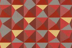 Absztrakt,geometriai mintás,kockás,különleges motívumos,pöttyös,retro,piros-bordó,sárga,szürke,lemosható,vlies tapéta