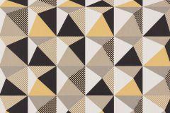 Absztrakt,geometriai mintás,kockás,pöttyös,retro,fehér,fekete,sárga,lemosható,vlies tapéta