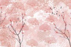 Fa hatású-fa mintás,különleges motívumos,rajzolt,retro,természeti mintás,virágmintás,barna,fehér,pink-rózsaszín,gyengén mosható,vlies poszter, fotótapéta