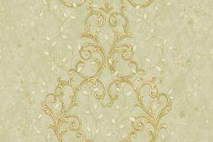 Barokk-klasszikus,különleges motívumos,természeti mintás,textil hatású,textilmintás,virágmintás,arany,bézs-drapp,ezüst,vajszín,zöld,súrolható,vlies tapéta