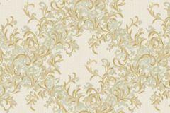 Absztrakt,barokk-klasszikus,különleges motívumos,természeti mintás,textil hatású,textilmintás,virágmintás,arany,vajszín,zöld,súrolható,vlies tapéta