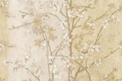 Különleges motívumos,retro,természeti mintás,virágmintás,arany,barna,fehér,vajszín,súrolható,vlies tapéta