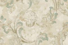 Barokk-klasszikus,különleges felületű,természeti mintás,textil hatású,textilmintás,virágmintás,bézs-drapp,vajszín,zöld,súrolható,vlies tapéta